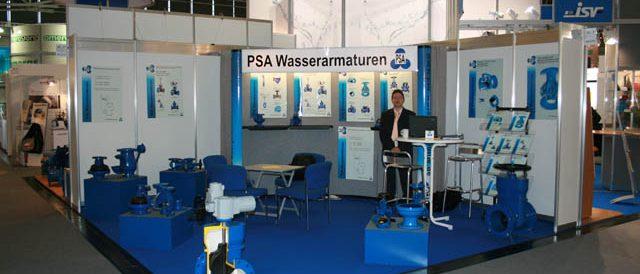 Das Bild zeigt den Messestand der PSA Wasserarmaturen GmbH auf der IFAT